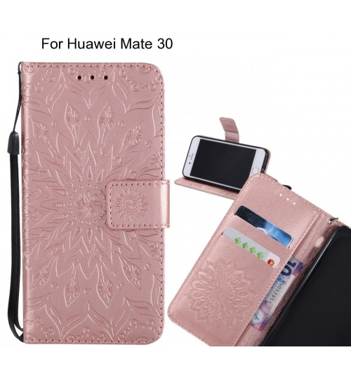 Huawei Mate 30 Case Leather Wallet case embossed sunflower pattern