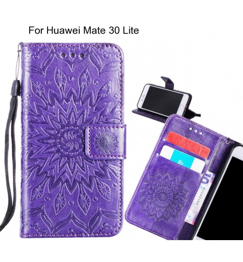 Huawei Mate 30 Lite Case Leather Wallet case embossed sunflower pattern