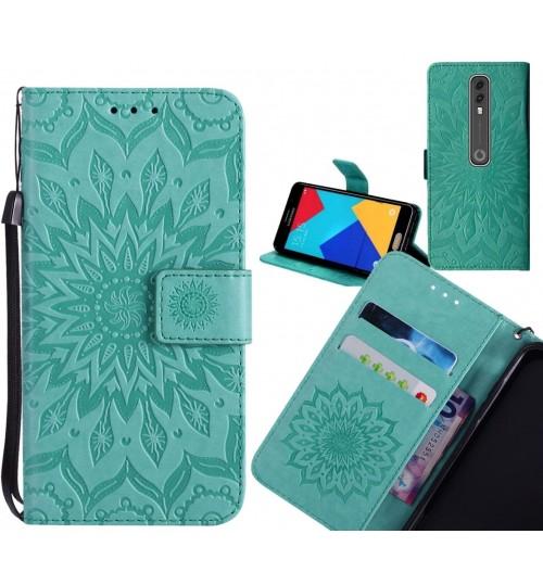 Vodafone V10 Case Leather Wallet case embossed sunflower pattern