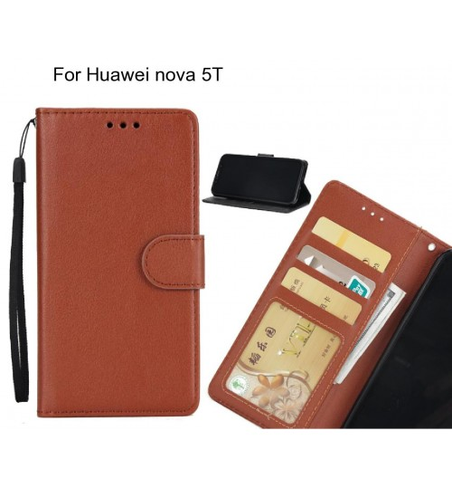 Huawei nova 5T  case Silk Texture Leather Wallet Case