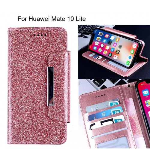 Huawei Mate 10 Lite Case Glitter wallet Case ID wide Magnetic Closure