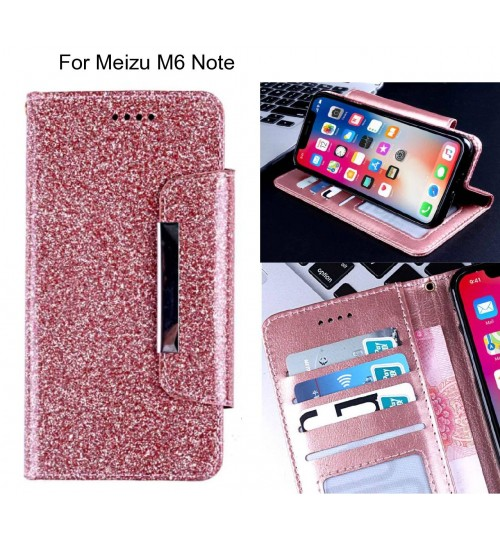 Meizu M6 Note Case Glitter wallet Case ID wide Magnetic Closure