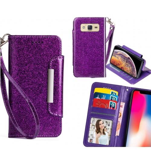 Galaxy J2 Case Glitter wallet Case ID wide Magnetic Closure
