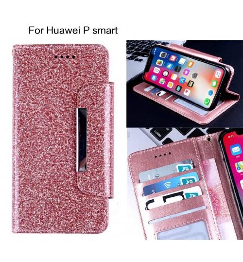 Huawei P smart Case Glitter wallet Case ID wide Magnetic Closure