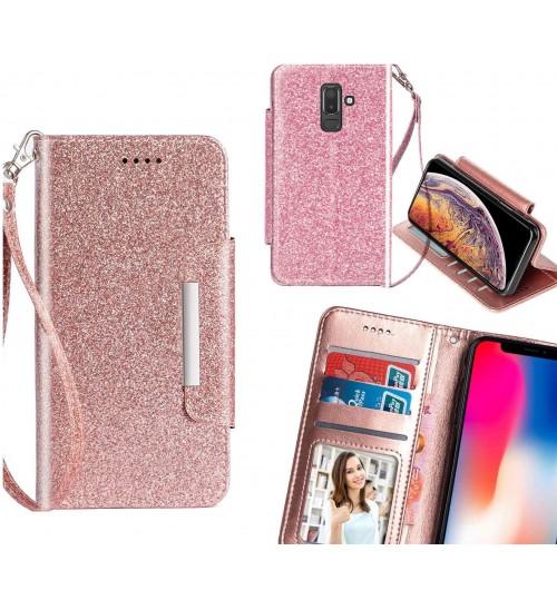 Galaxy J8 Case Glitter wallet Case ID wide Magnetic Closure