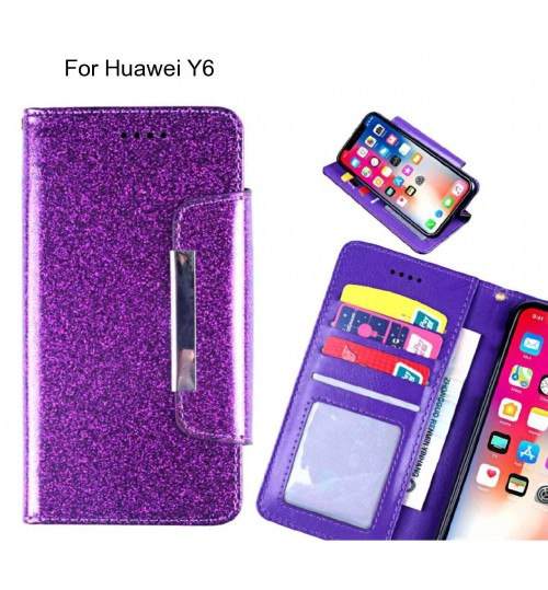 Huawei Y6 Case Glitter wallet Case ID wide Magnetic Closure
