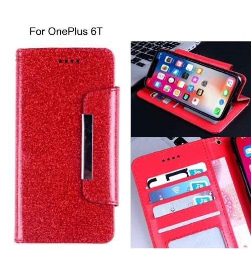 OnePlus 6T Case Glitter wallet Case ID wide Magnetic Closure