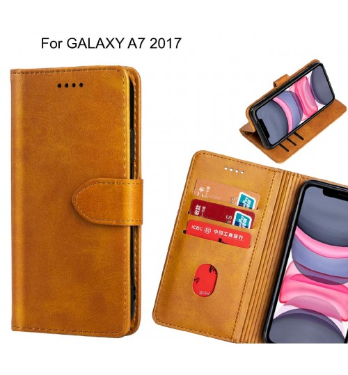 GALAXY A7 2017 Case Premium Leather ID Wallet Case