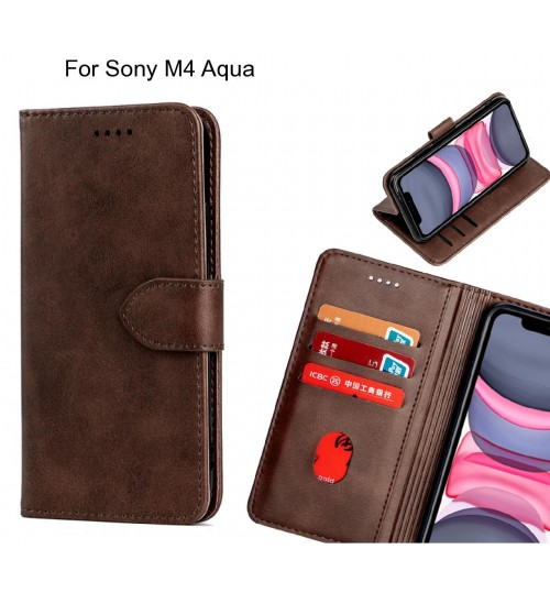 Sony M4 Aqua Case Premium Leather ID Wallet Case