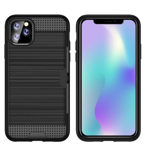 iPhone 11 Pro impact proof hybrid case card clip Brushed Metal Texture