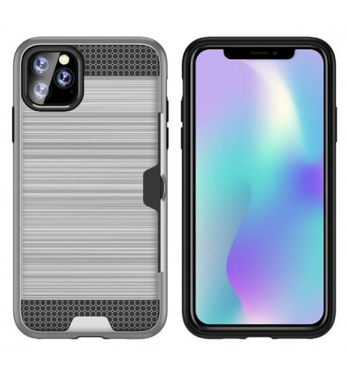 iPhone 11 Pro Max impact proof hybrid case card clip Brushed Metal Texture