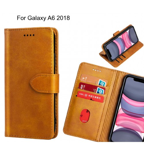 Galaxy A6 2018 Case Premium Leather ID Wallet Case