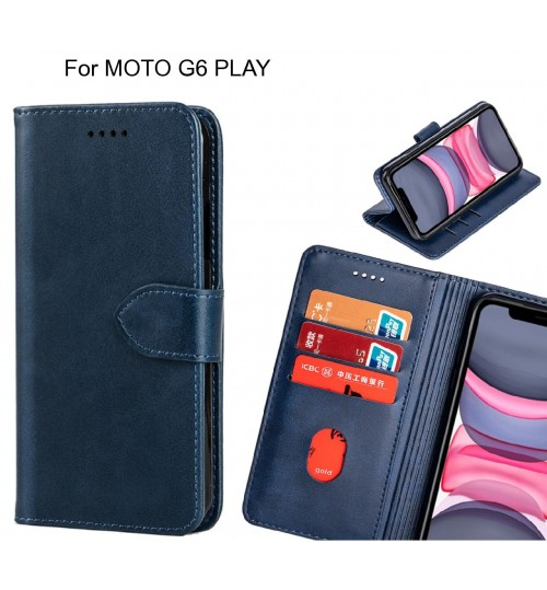MOTO G6 PLAY Case Premium Leather ID Wallet Case