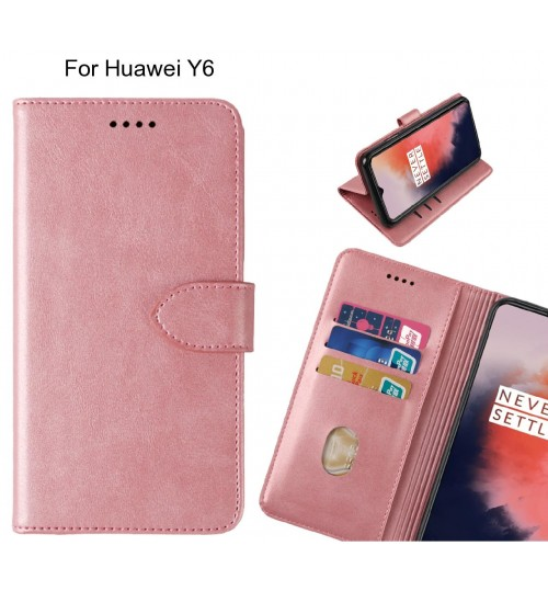 Huawei Y6 Case Premium Leather ID Wallet Case
