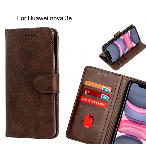 Huawei nova 3e Case Premium Leather ID Wallet Case