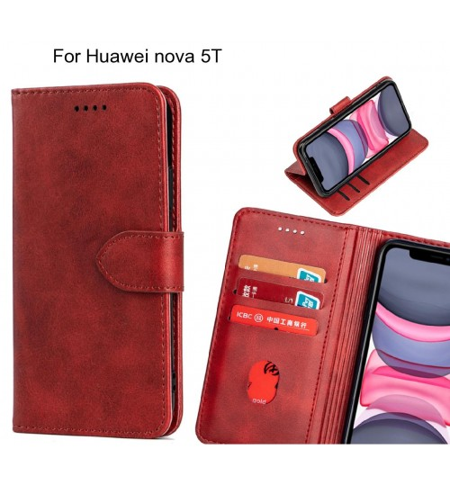 Huawei nova 5T Case Premium Leather ID Wallet Case