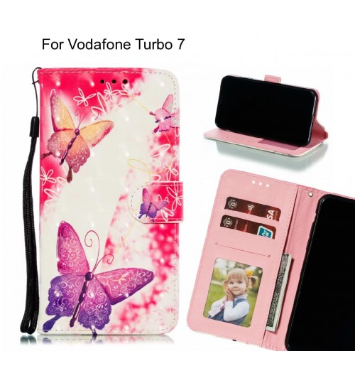 Vodafone Turbo 7 Case Leather Wallet Case 3D Pattern Printed