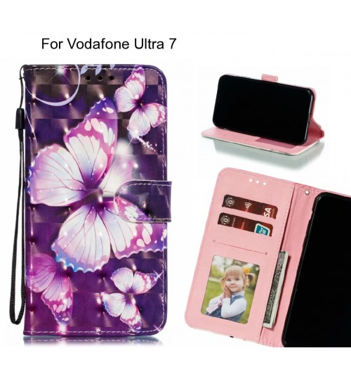 Vodafone Ultra 7 Case Leather Wallet Case 3D Pattern Printed