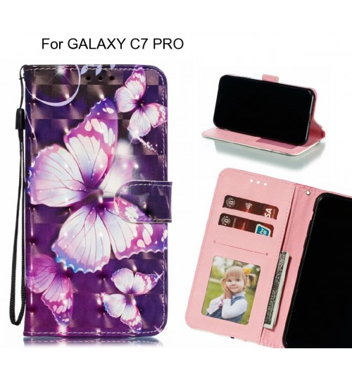GALAXY C7 PRO Case Leather Wallet Case 3D Pattern Printed