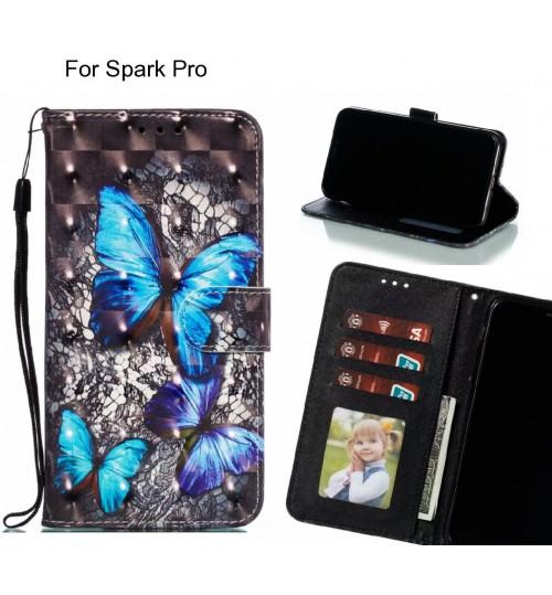 Spark Pro Case Leather Wallet Case 3D Pattern Printed