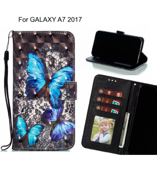 GALAXY A7 2017 Case Leather Wallet Case 3D Pattern Printed