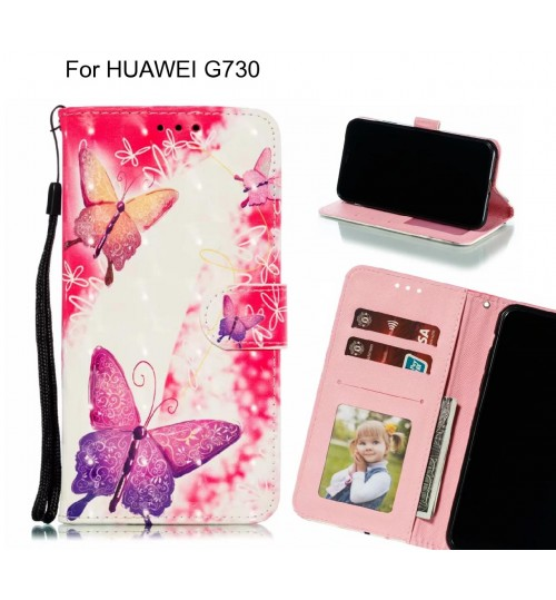 HUAWEI G730 Case Leather Wallet Case 3D Pattern Printed
