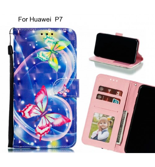 Huawei  P7 Case Leather Wallet Case 3D Pattern Printed
