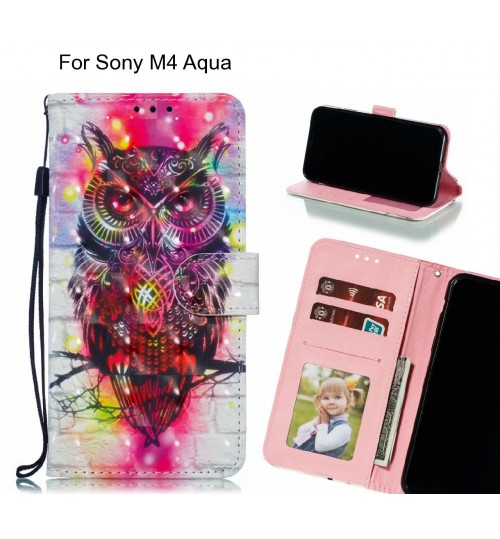 Sony M4 Aqua Case Leather Wallet Case 3D Pattern Printed