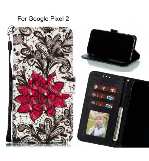Google Pixel 2 Case Leather Wallet Case 3D Pattern Printed