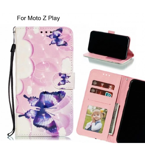 Moto Z Play Case Leather Wallet Case 3D Pattern Printed