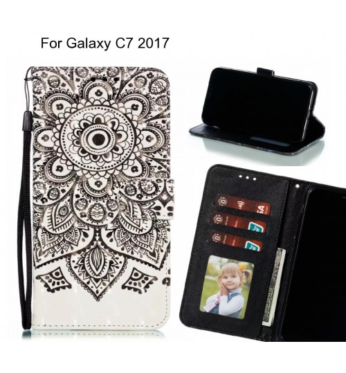 Galaxy C7 2017 Case Leather Wallet Case 3D Pattern Printed
