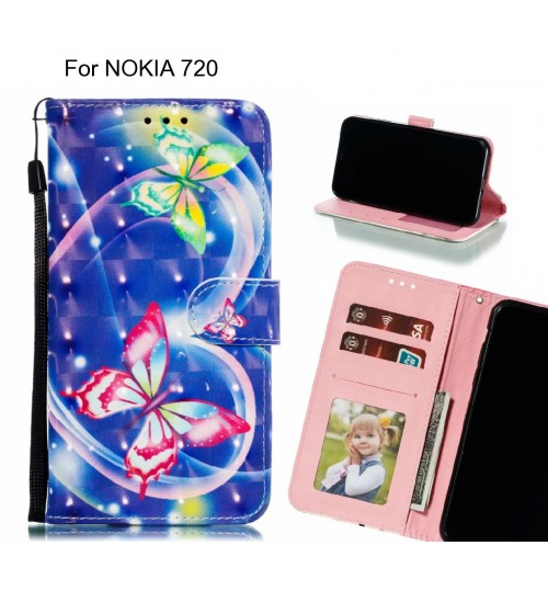 NOKIA 720 Case Leather Wallet Case 3D Pattern Printed