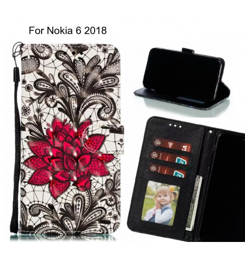 Nokia 6 2018 Case Leather Wallet Case 3D Pattern Printed