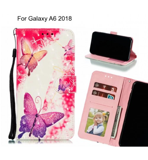 Galaxy A6 2018 Case Leather Wallet Case 3D Pattern Printed