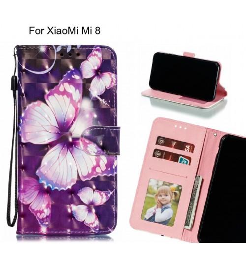 XiaoMi Mi 8 Case Leather Wallet Case 3D Pattern Printed