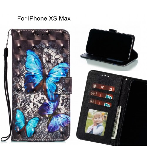 iPhone XS Max Case Leather Wallet Case 3D Pattern Printed