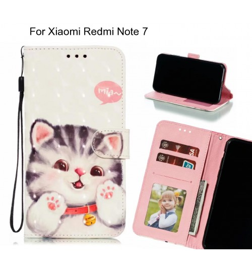 Xiaomi Redmi Note 7 Case Leather Wallet Case 3D Pattern Printed