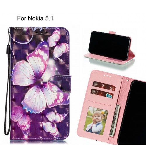 Nokia 5.1 Case Leather Wallet Case 3D Pattern Printed
