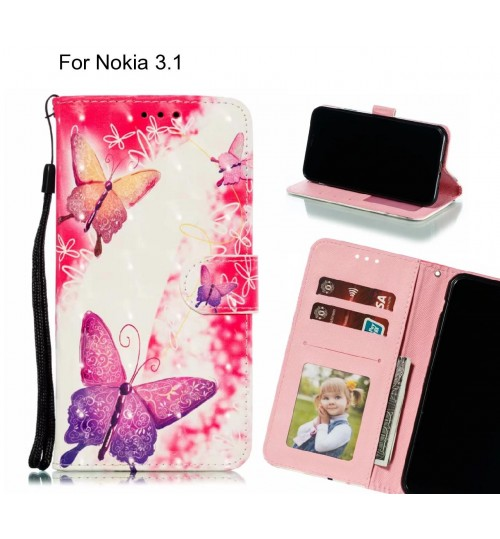 Nokia 3.1 Case Leather Wallet Case 3D Pattern Printed