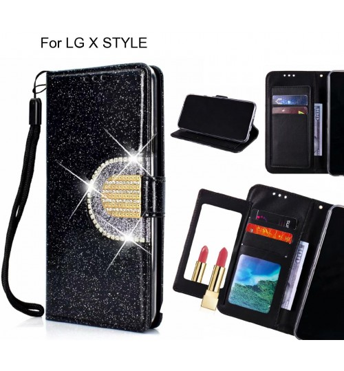 LG X STYLE Case Glaring Wallet Leather Case With Mirror