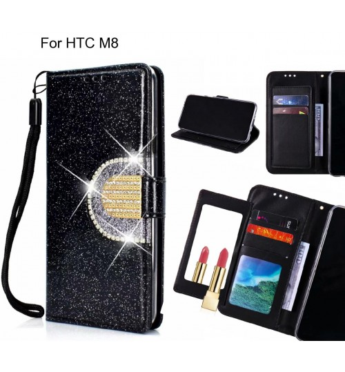 HTC M8 Case Glaring Wallet Leather Case With Mirror