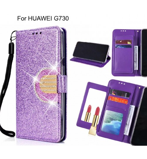 HUAWEI G730 Case Glaring Wallet Leather Case With Mirror