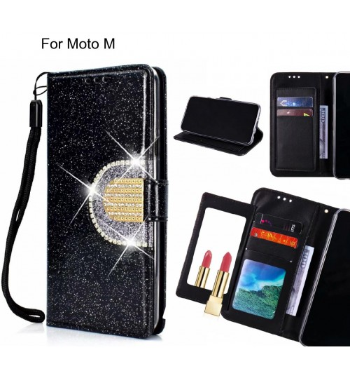 Moto M Case Glaring Wallet Leather Case With Mirror