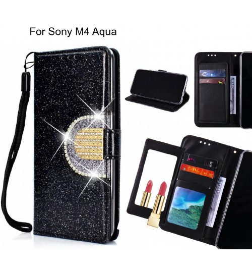 Sony M4 Aqua Case Glaring Wallet Leather Case With Mirror