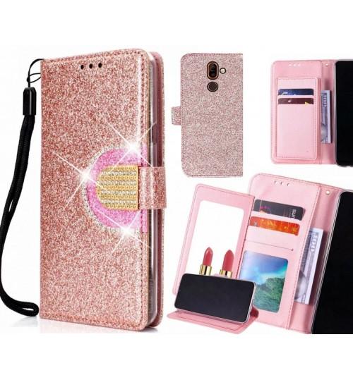Nokia 7 plus Case Glaring Wallet Leather Case With Mirror