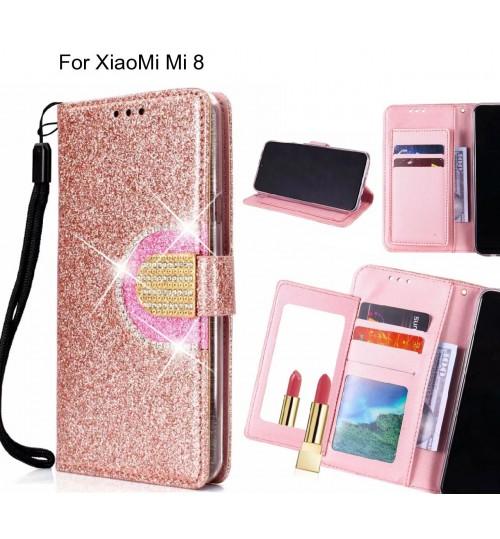 XiaoMi Mi 8 Case Glaring Wallet Leather Case With Mirror