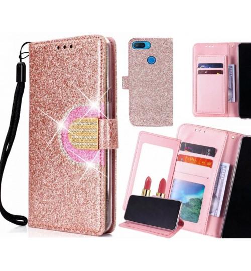 XiaoMi Mi 8 lite Case Glaring Wallet Leather Case With Mirror