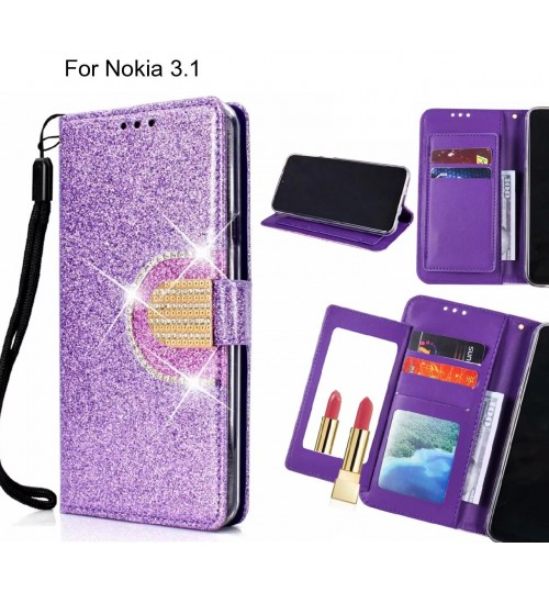 Nokia 3.1 Case Glaring Wallet Leather Case With Mirror