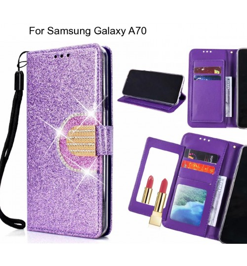 Samsung Galaxy A70 Case Glaring Wallet Leather Case With Mirror
