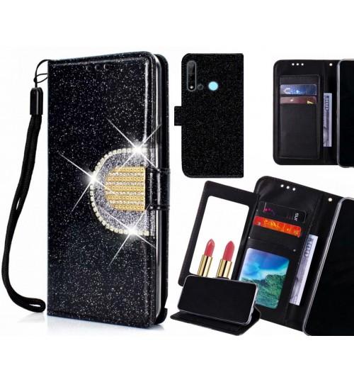 Huawei nova 5i Case Glaring Wallet Leather Case With Mirror